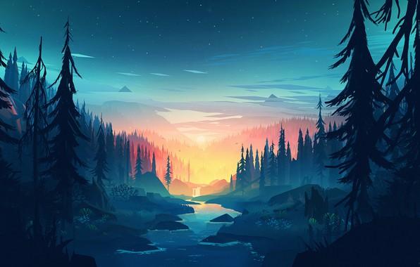 Картинка Закат, Солнце, Горы, Игра, Река, Лес, Вид, Холмы, Пейзаж, Арт, Campo Santo, Firewatch, Пожарный дозор