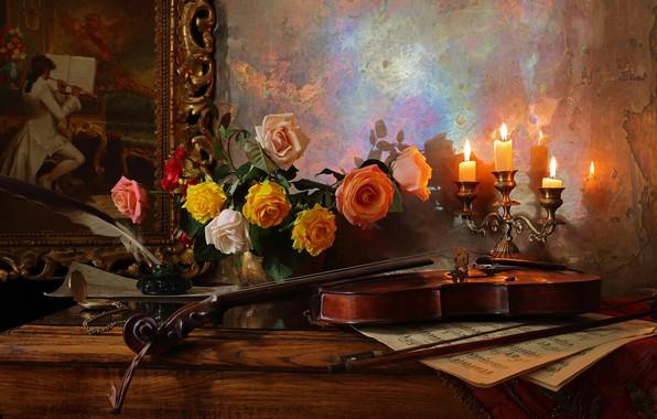Картинка цветы, ноты, перо, скрипка, розы, картина, свечи, ваза, столик, still life, чернильница, Andrey Morozov, Андрей …