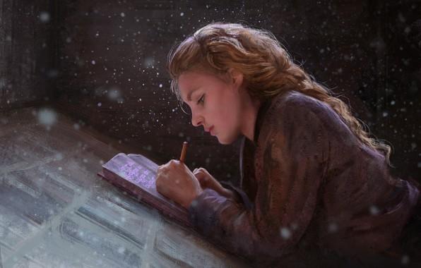 Картинка girl, fantasy, magic, snow, braid, painting, artist, blonde, artwork, fantasy art, books, writing, painting art, …