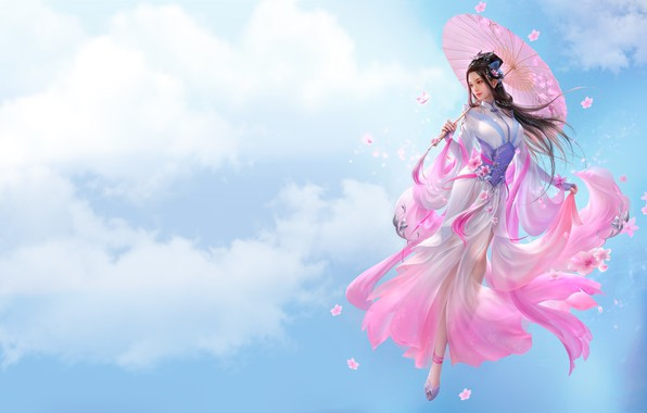 Картинка девушка, облака, зонтик, игра, арт, fantasy