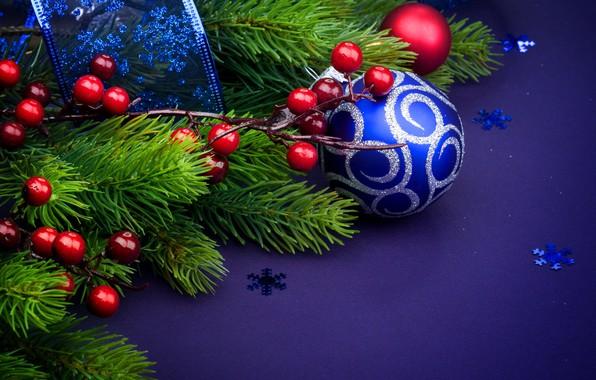 Картинка Лента, Шары, Рождество, Новый год, Украшение, Праздник, синий фон, Ветки ели, ветки ягод