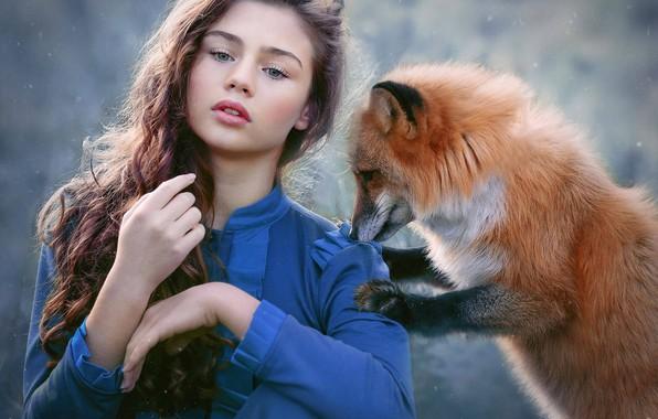 Картинка взгляд, девушка, снег, настроение, лиса, рыжая, длинные волосы