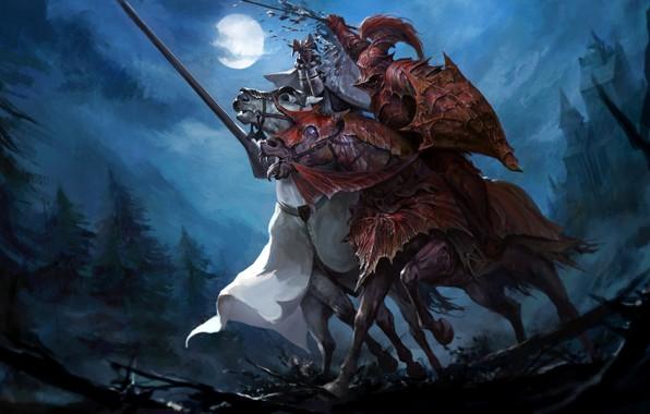 Картинка moon, fantasy, forest, armor, trees, night, horses, battle, castle, weapons, artwork, shield, swords, fantasy art, …