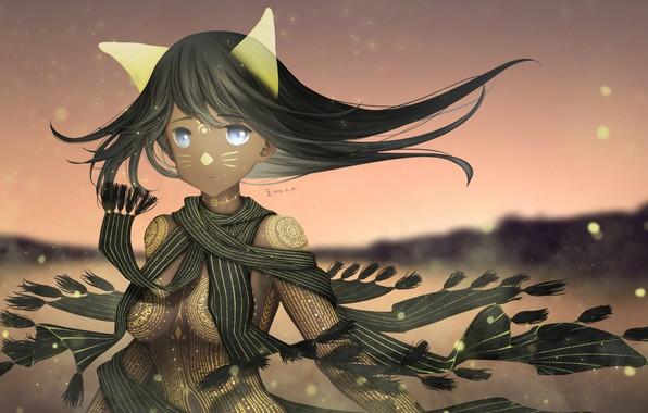 Картинка девушка, магия, аниме, шарф, арт, татуировки, ушки