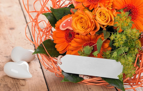 Картинка цветы, розы, букет, love, герберы, wood, romantic, hearts, orange, spring, roses, gerbera
