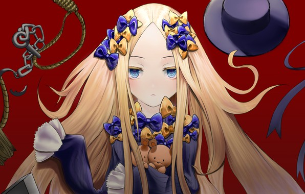 Картинка ленты, шляпа, аниме, арт, девочка, Fate Grand Order, Судьба великая кампания, Abigail Williams, Foreigner