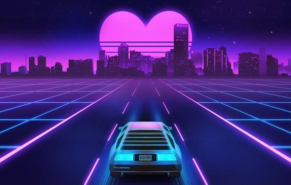 Картинка Дорога, Ночь, Музыка, Город, Сердце, Звезды, Неон, Фон, DeLorean DMC-12, DeLorean, DMC-12, Electronic, Synthpop, Darkwave, …