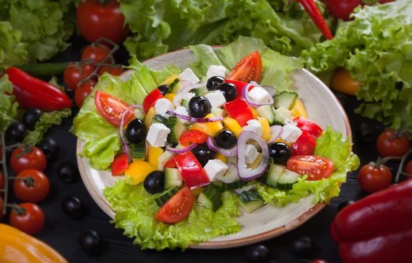 Картинка огурец, лук, перец, овощи, помидоры, салат, маслины, греческий, фета