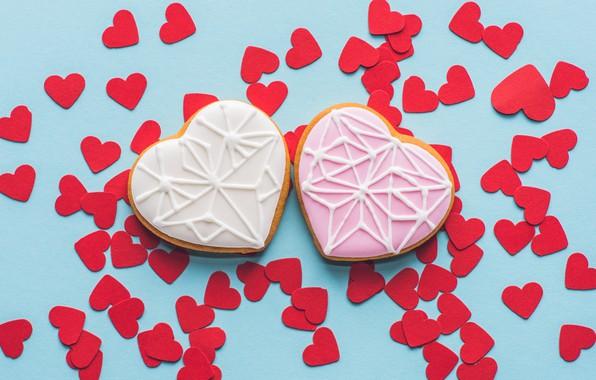 Фото обои сердечки, выпечка, Печенье