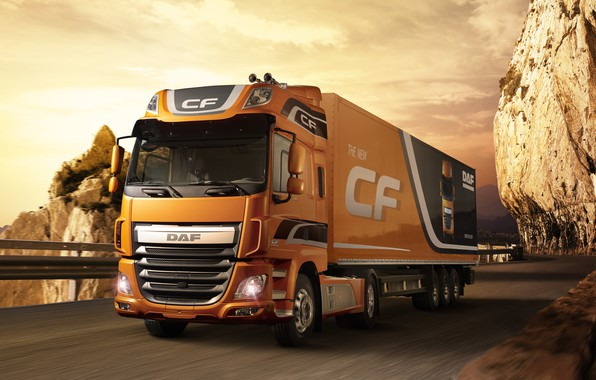Картинка свет, оранжевый, ограждение, горная дорога, DAF, седельный тягач, ДАФ, Space Cab, полуприцеп, 4х2, Euro6, DAF …