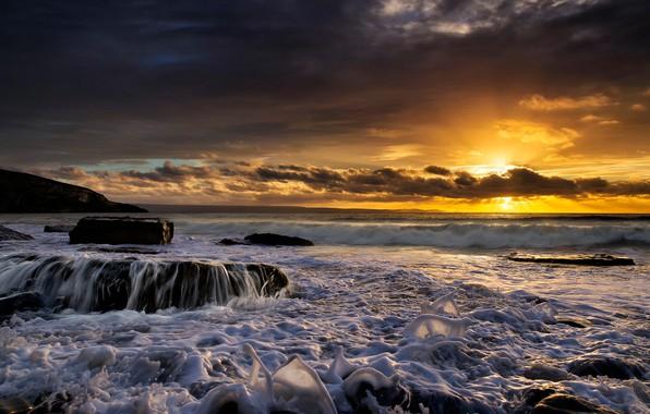 Картинка море, закат, Англия, England, Уэльс, Wales, Dunraven Bay, Southerndown, Саутерндаун, Залив Данрейвен