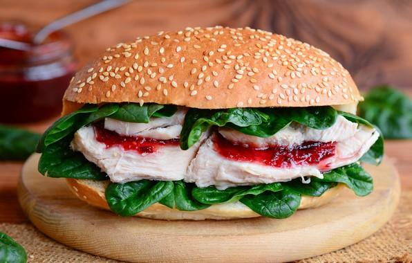 Картинка листья, мясо, соус, гамбургер, булочка