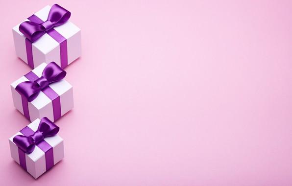 Картинка подарок, лента, бант, box, pink, present, gift, bow, puple, satin