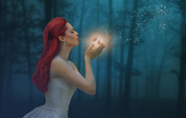 Картинка лес, девушка, бабочки, настроение, волшебство