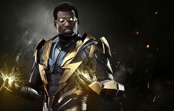 Картинка game, lightning, hero, suit, DC Comics, uniform, spark, super hero, Injustice 2, DC, Black Lightning