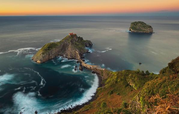 Картинка закат, океан, скалы, побережье, остров, Испания, Spain, Бискайский залив, Bay of Biscay, Bizkaia, Бискайя, Страна …