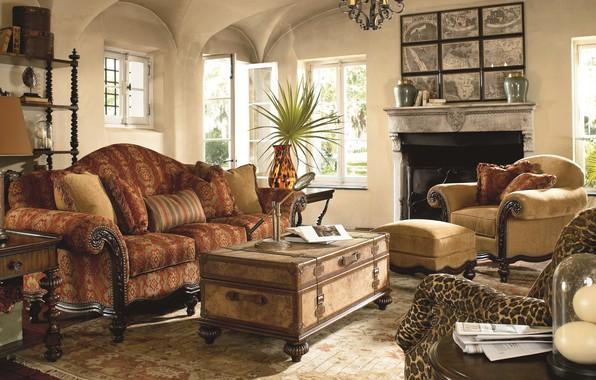 Картинка комната, интерьер, камин, гостиная, warm glow, British Colonial style