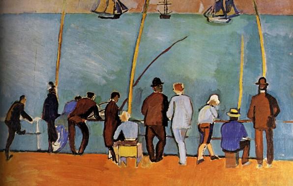Картинка корабли, рыбаки, france, удочки, 1908, Huile sur Toile, Raoul Dufy, Collection ParticuliКre, PИcheurs Е la …