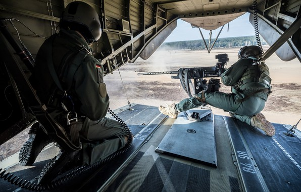 Картинка армия, вертолет, стрельба, пулемет