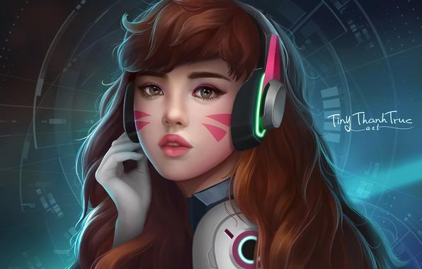 Картинка арт, Overwatch, Ханна Сон, D. VA, Дозор, by TiNyThanhTruc