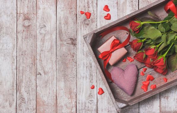 Картинка подарок, Love, розы, букет, сердечки, красные, heart, wood, gift, bouquet, roses, Valentine Day
