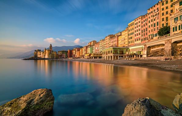 Картинка море, пейзаж, побережье, здания, Италия, Italy, Лигурийское море, Camogli, Лигурия, Liguria, Камольи, Ligurian Sea