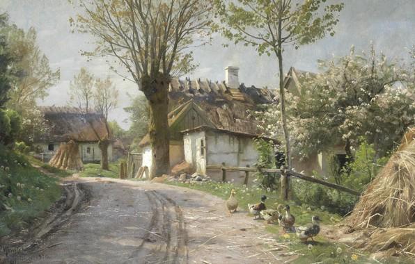 Картинка 1920, датский живописец, Петер Мёрк Мёнстед, Peder Mørk Mønsted, Danish realist painter, A cauntry lane …