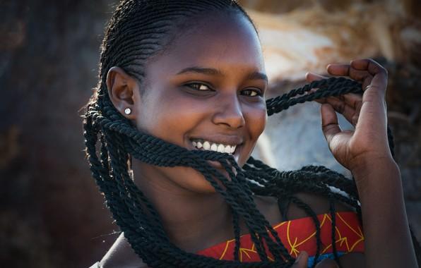 Картинка смех, косички, темнокожая девушка, African portrait