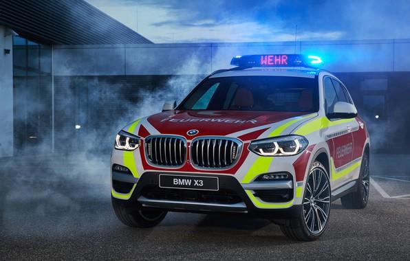 Картинка 2018, кроссовер, мигалки, Feuerwehr, BMW X3, xDrive20d, пожарная охрана