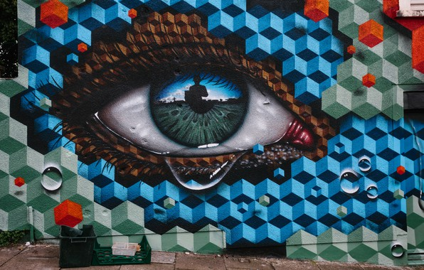 Картинка глаз, улица, граффити, рисунок