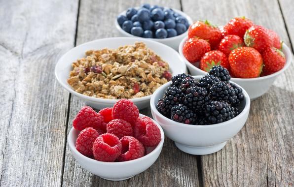 Картинка ягоды, малина, завтрак, черника, клубника, мюсли, овсяные хлопья