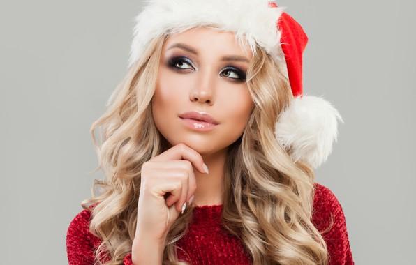 Картинка задумчивость, поза, праздник, шапка, новый год, портрет, рождество, макияж, прическа, блондинка, снегурочка, красотка, в красном, …