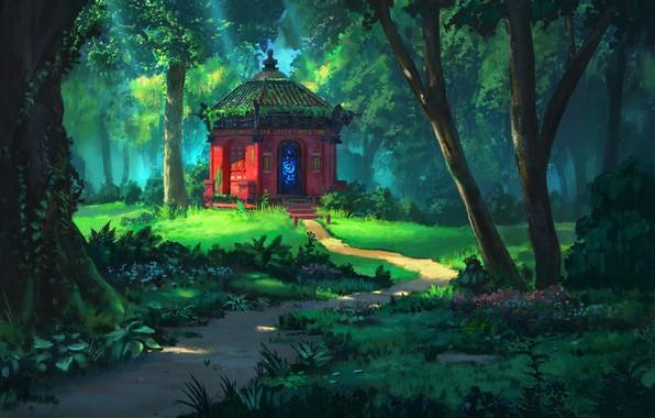 Картинка лето, деревья, храм, тропинка, art, опушка леса, святилище, Rhads