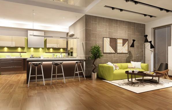 Картинка дизайн, диван, мебель, интерьер, кухня, design, гостиная, living room, interior, sofa, модерн, kitchen