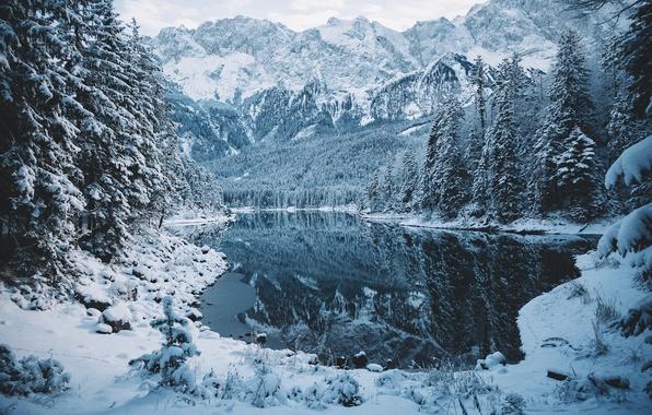 Картинка зима, лес, снег, горы, природа, озеро