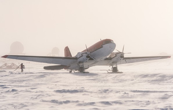 Картинка снег, лёд, самолёт, Антарктида, Южный полюс