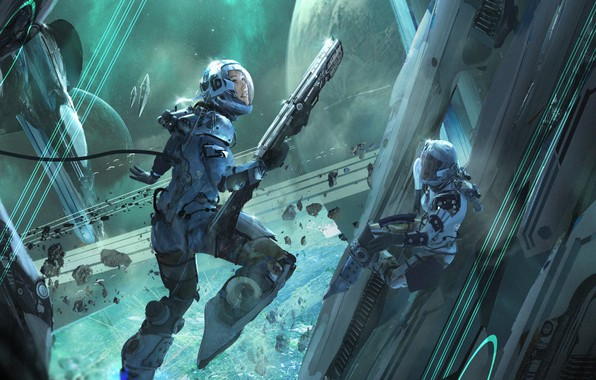 Картинка оружие, планеты, человек, скафандр, Belts Shift