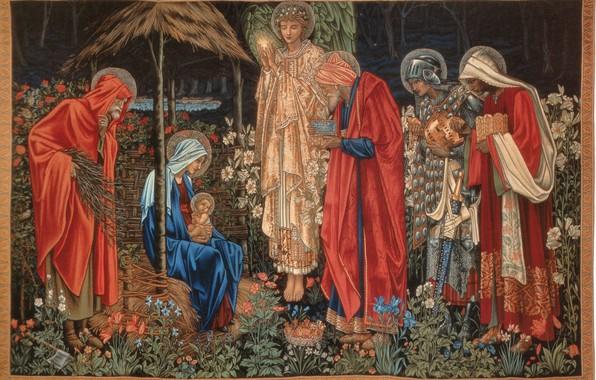 Картинка Поклонение волхвов, Burne-Jones, of_the_Magi, Tapestry, Вифлеемская Звезда, Adoration