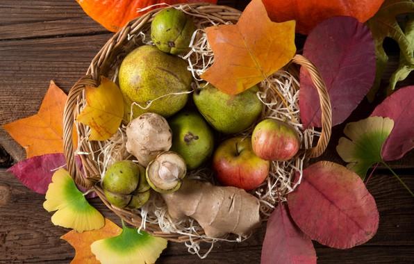 Картинка листья, корзина, яблоки, фрукты, груши, дары осени