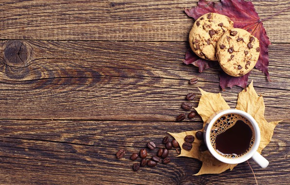 Картинка осень, листья, кофе, печенье, чашка, wood, autumn, leaves, book, cookies, fall, cup of coffee