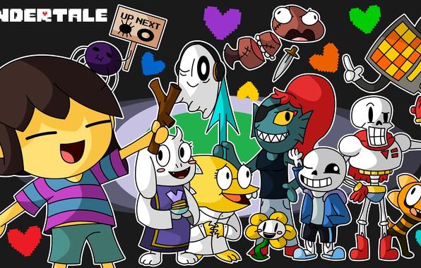 Картинка персонажи, undertale, андертейл, аниме игра