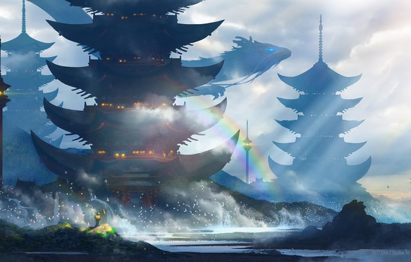 Картинка море, волны, брызги, птицы, огни, берег, дракон, человек, радуга, башни, Japan, art, летящий, серое небо, …