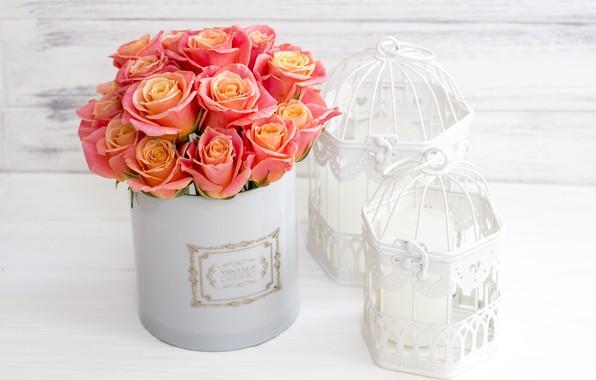 Картинка любовь, цветы, коробка, розы, букет, love, pink, flowers, romantic, roses, cute