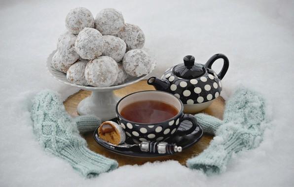 Картинка снег, чай, чайник, печенье, чашка, выпечка, варежки