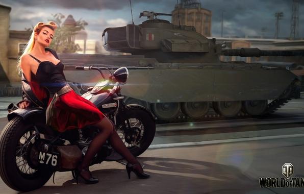 Картинка дорога, девушка, город, рисунок, арт, мотоцикл, танк, байк, британский, средний, World of Tanks, Nikita Bolyakov, …