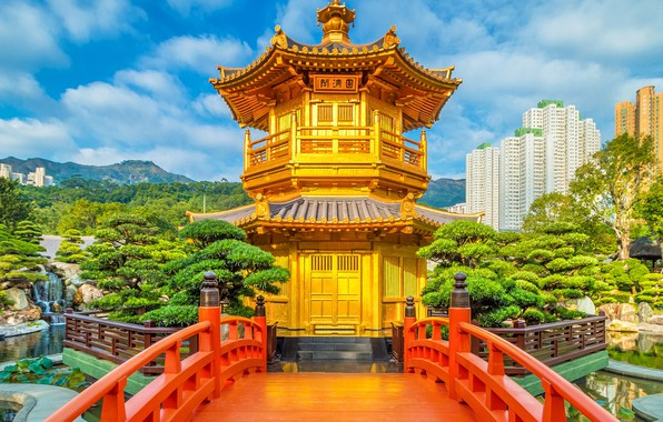 Картинка небо, солнце, облака, деревья, горы, пруд, парк, камни, дома, Гонконг, Китай, пагода, кусты
