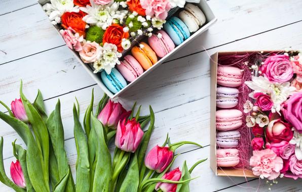 Картинка цветы, букет, тюльпаны, розовые, коробки, macarons