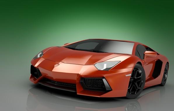 Картинка абстракция, арт, парковка, суперкар, автомобиль, хром, ламборджини, зеленый фон, ламборгини, Lamborghini Aventador, цвет красный, wallpaper., …