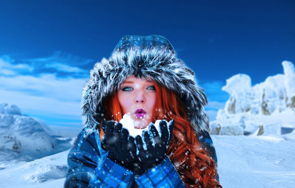 Картинка зима, девушка, снег, горы, настроение, волосы, капюшон, рыжая, рыжеволосая, локоны