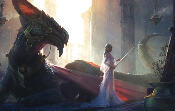 Картинка girl, sword, fantasy, dress, weapon, wings, tail, dragon, blonde, digital art, Princess, artwork, fantasy art, …